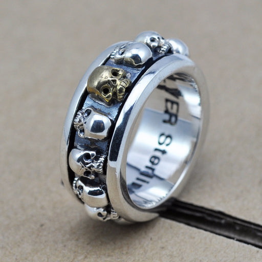 Punk fashion retro silver men's 'skull ring