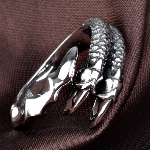 Retro Men's silver ring  - dragon claw open ring
