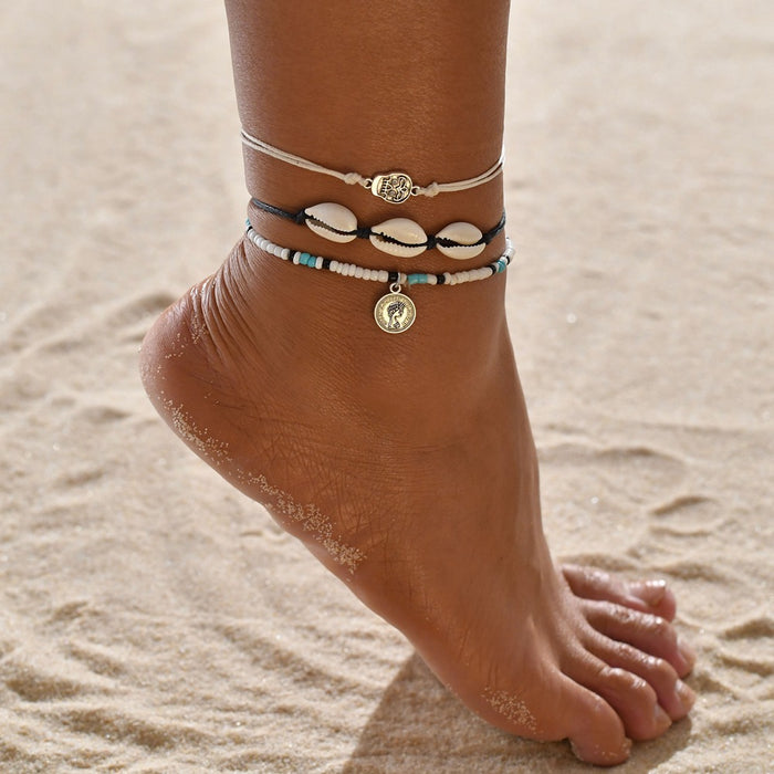 Retro Boho head seal shell skull anklet