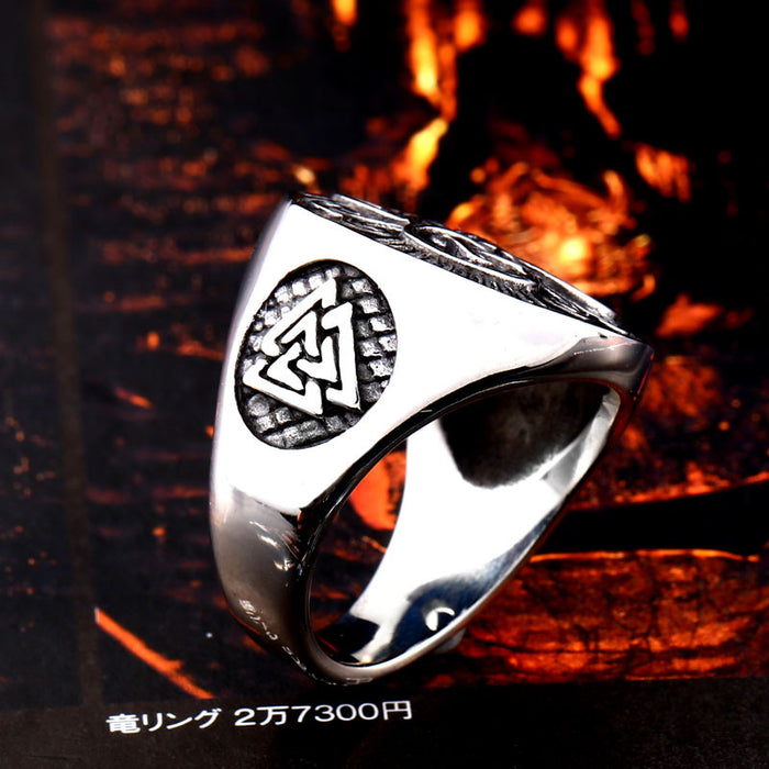 Nordic Viking hollow carved men's ring