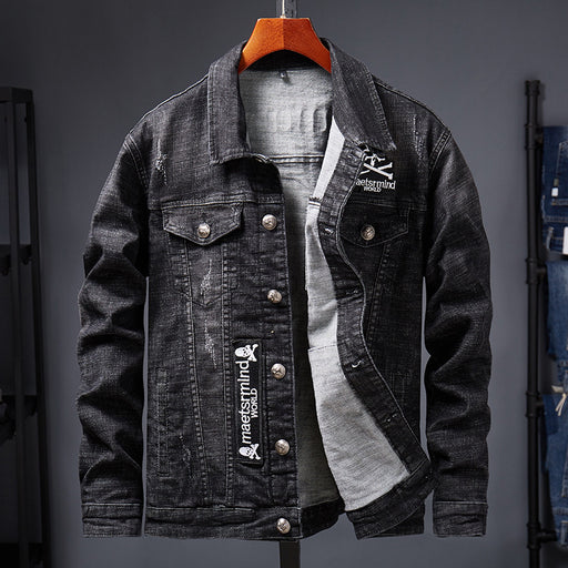 Skull men's denim jacket in Korean style