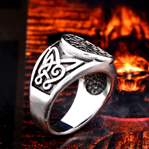 Titanium steel men's Viking carved ring