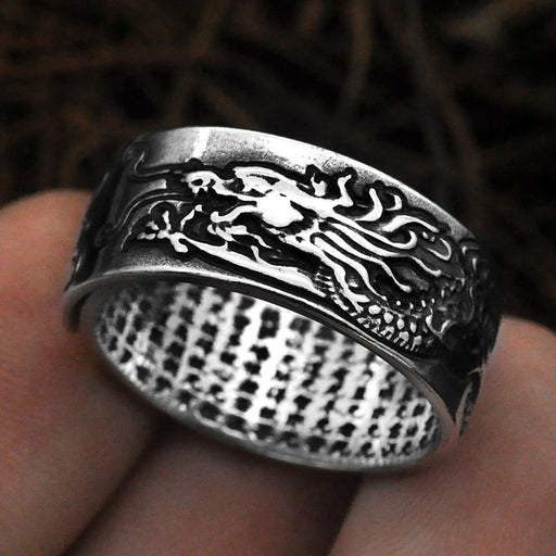 Domineering auspicious clouds dragon design Men's ring'