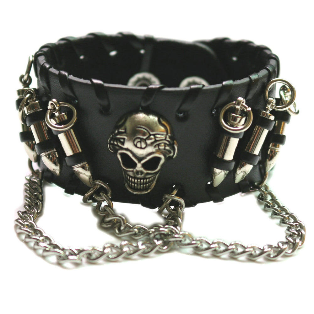 Skull Medieval Punk Retro Leather Bullets Chain Bracelet