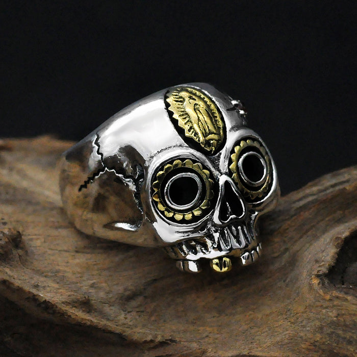 Golden Notre Dame personality men's skull sliver ring