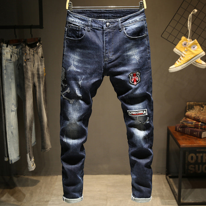 Skull skeleton slim stretch jeans