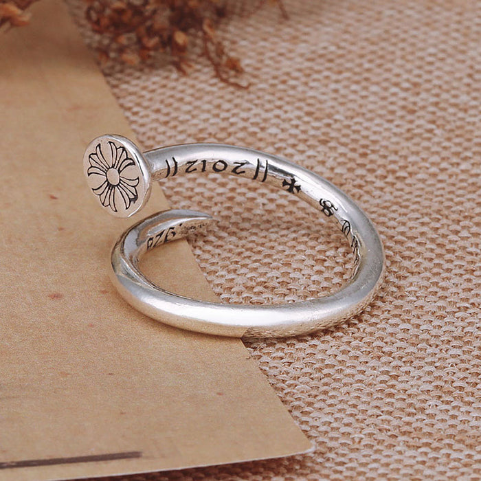 Personality nail ring sterling silver 925 to create open ring