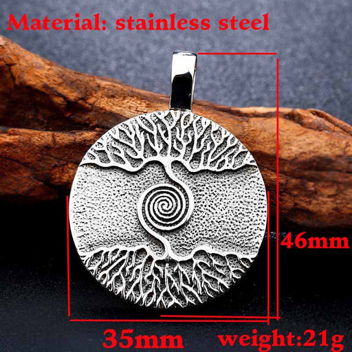 Nordic Viking Tree of Life Amulet Necklace Titanium Steel Pendant