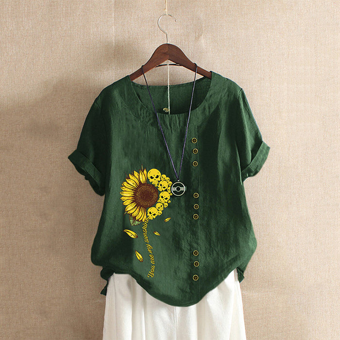 Sunflower skull printed round neck short-sleeved shirt