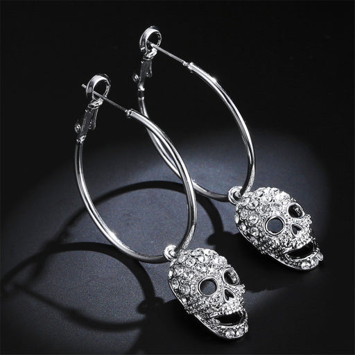 Goth motorcycle rock punk skull earrings