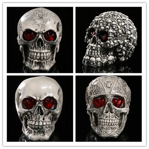 Halloween LED resin skull ornament