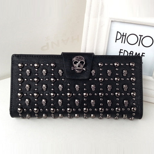 Skull long women's buckle rivet wallet