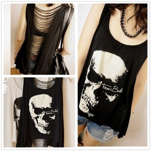 Skull hem women's back hollow vest