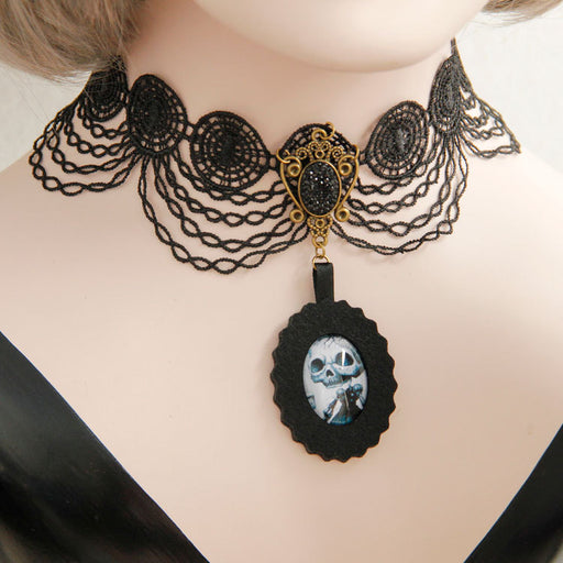 Gothic Halloween skull pendant black lace neck collarbone necklace