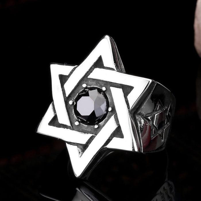 Retro personality domineering men's six-pointed star ring