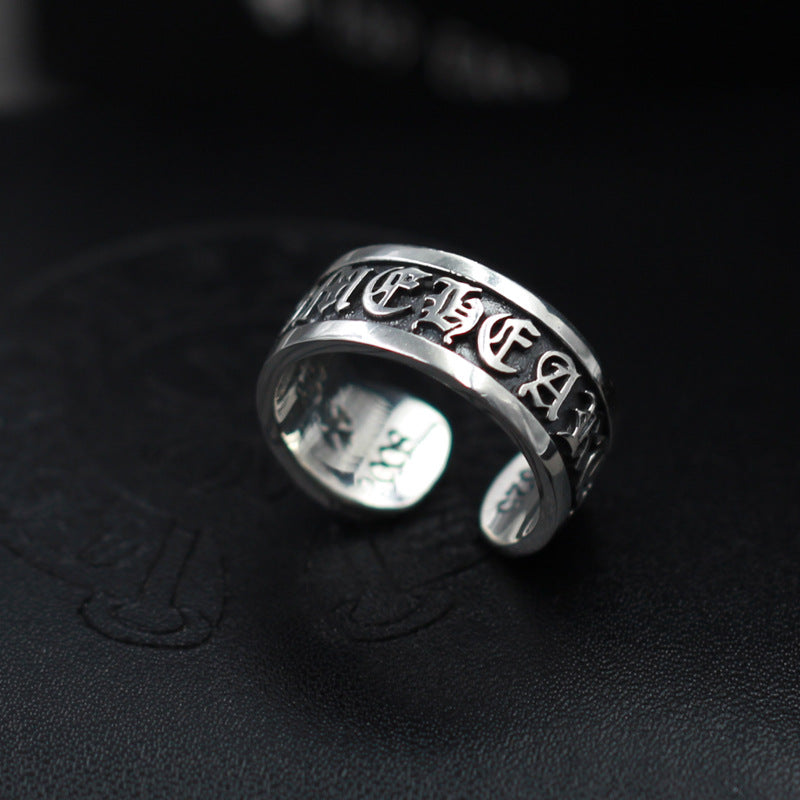 Personalized letter punk style ring trend 925 silver scroll ring