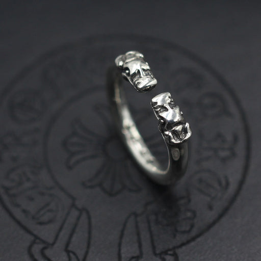 Double-headed dragon ring open thin sterling silver ring