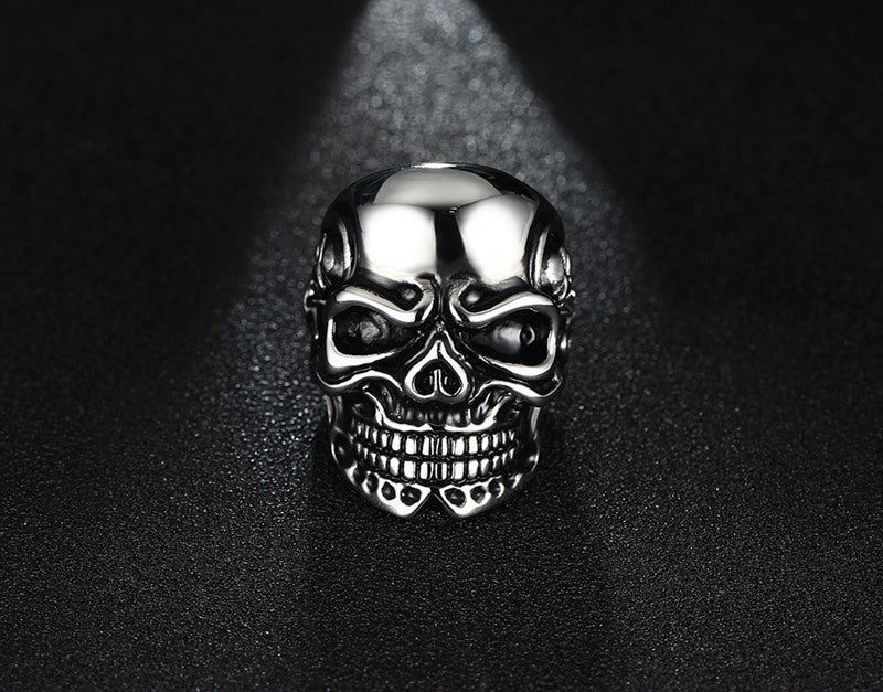 Skull men's punk Stainless steel ring