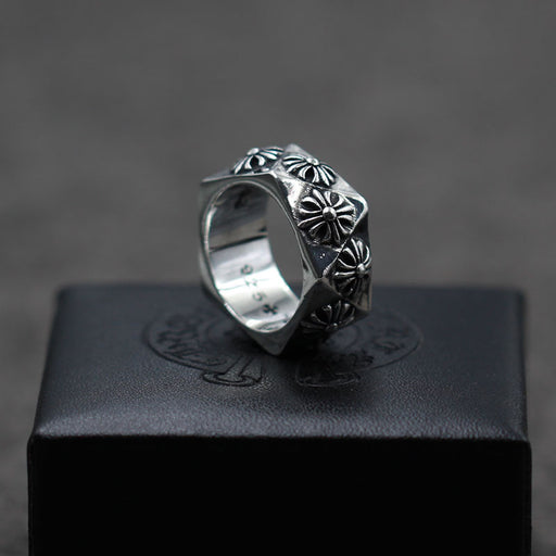 s925 sterling silver vintage punk style crusader flower ring