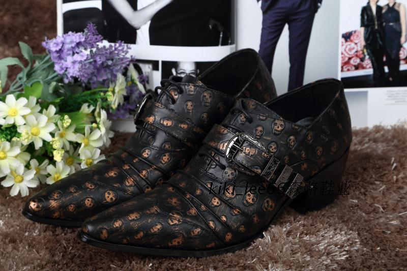 British sculpture fashion leisure skull men's Brogues
