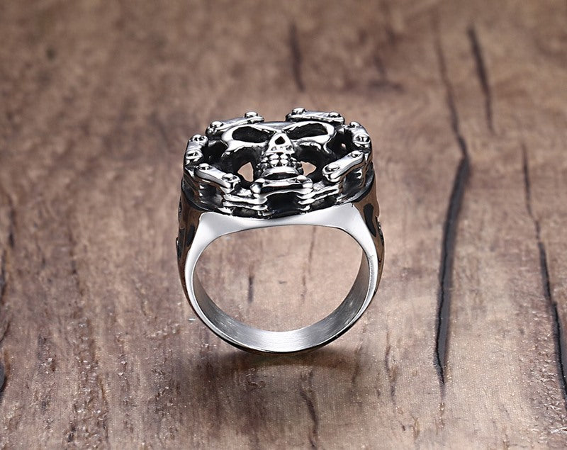Punk bike chain skull retro Stainless steel ring