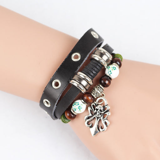 Boho wooden bead bead alloy skull leather braided bracelet