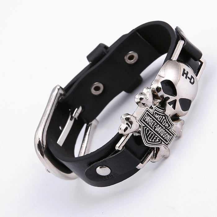Skull Modern Punk Gothic Fashion Leather Bracelet
