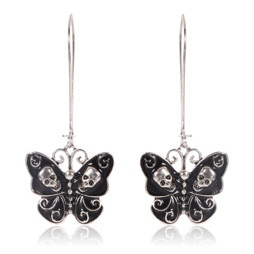 Butterfly skull large pendant long style earrings