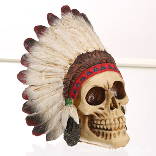 Halloween feather skull ornament