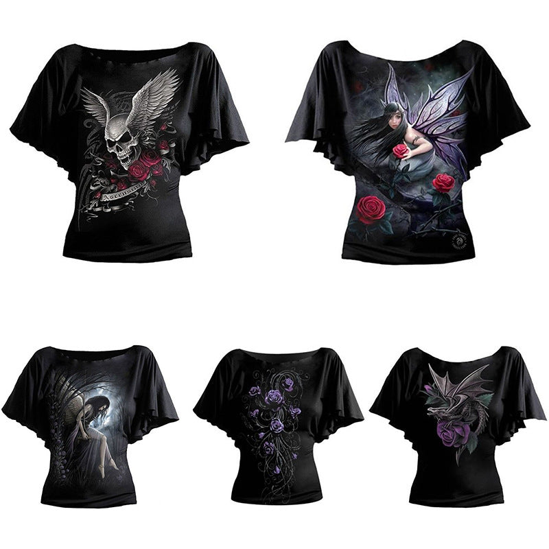 Skull Mythic Forest Demon Old Times Medieval Gothic Bat T-Shirt