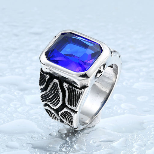 Vintage inlaid gemstone men's personalized carved pattern ring