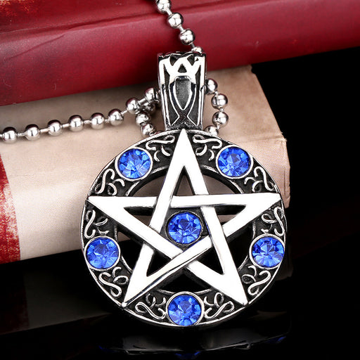 Vintage Men's Gothic Diamond Hexagonal Star Pendant