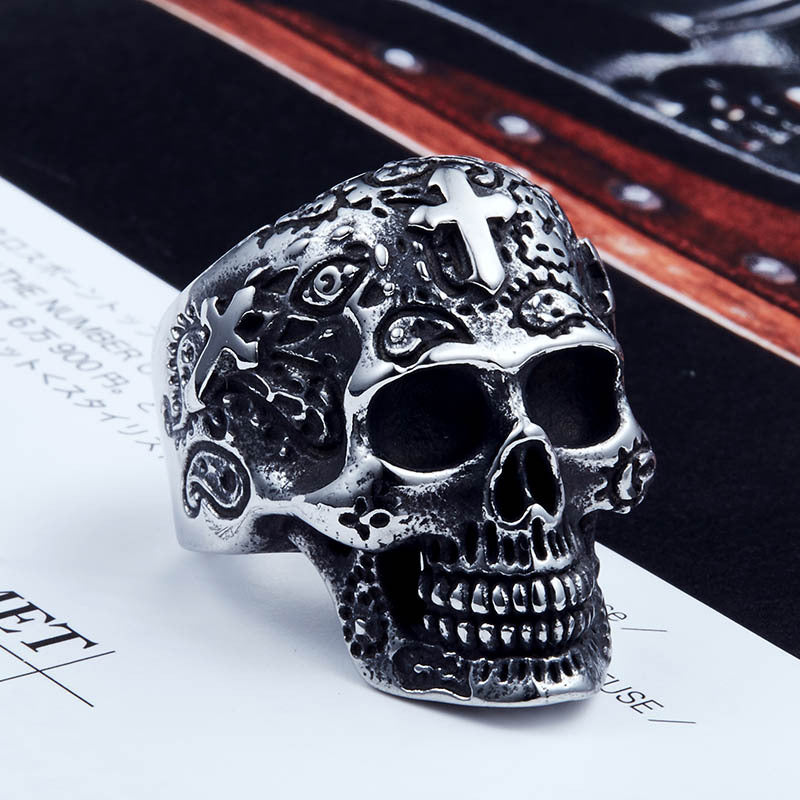Vintage Cross Carved Skull Ring Men's Personality Ring