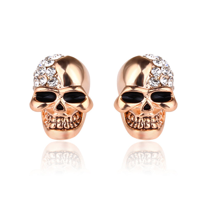 Retro glossy skull full of diamond stud earrings