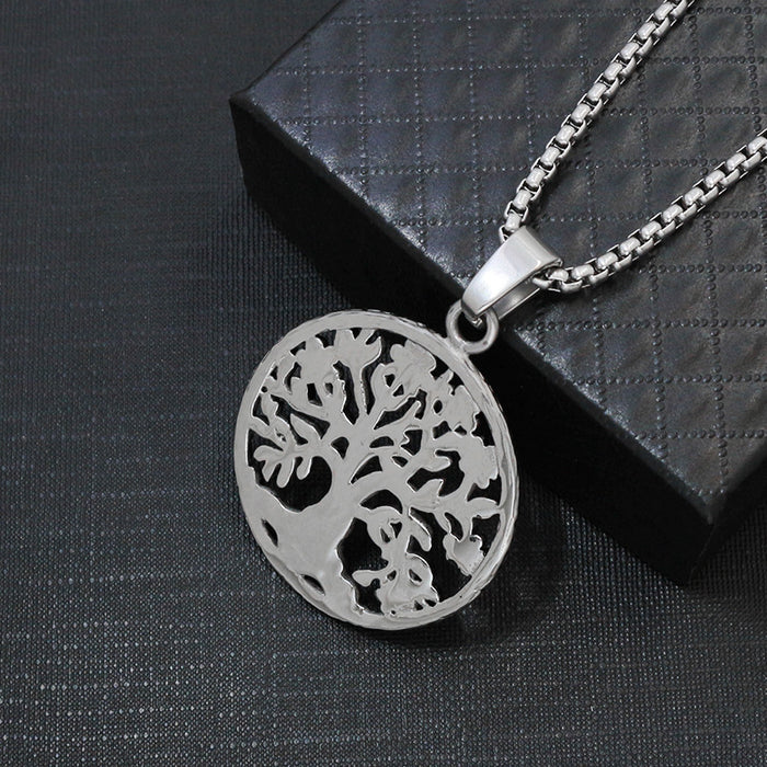 Vintage Lucky Life Tree Necklace Silver Black Cast Tree Pendant Men's Birthday Gift Necklace