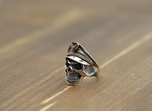Men's s925 Sterling Silver Punk Motorcycle Race Domineering Skull Ring