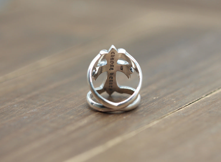 Sterling Silver Punk Hollow Cross Ring
