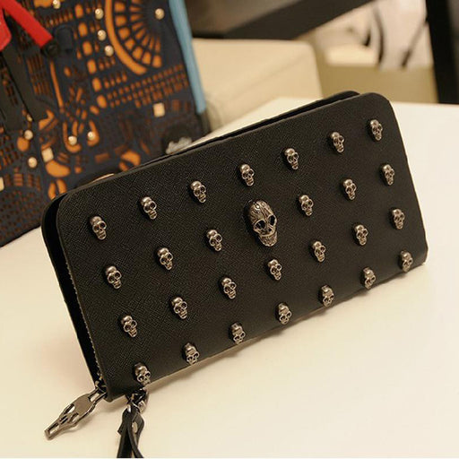 Long women's wallet with skull