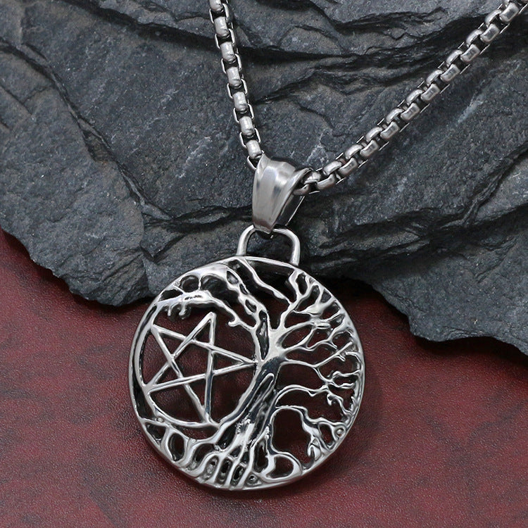 Pentagram Life Tree Pendant Fashion Hollow Wishing Tree Pendant Necklace