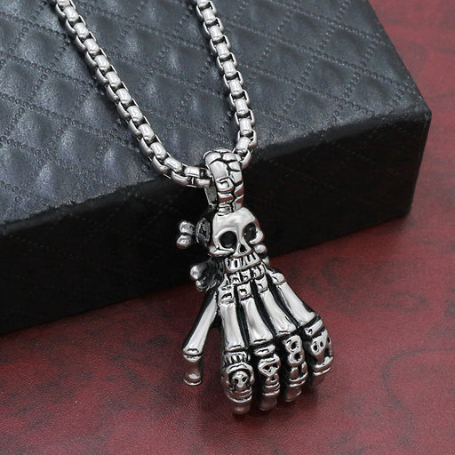Personality ghost claw skull pendant Punk retro men's skull ghost hand pendant