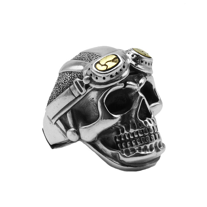 Men's s925 Sterling Silver Personalized Pilot Skull Sterling Silver Ring
