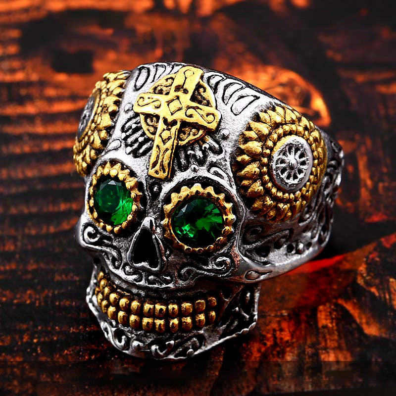 Vintage personality carved cross skull ring