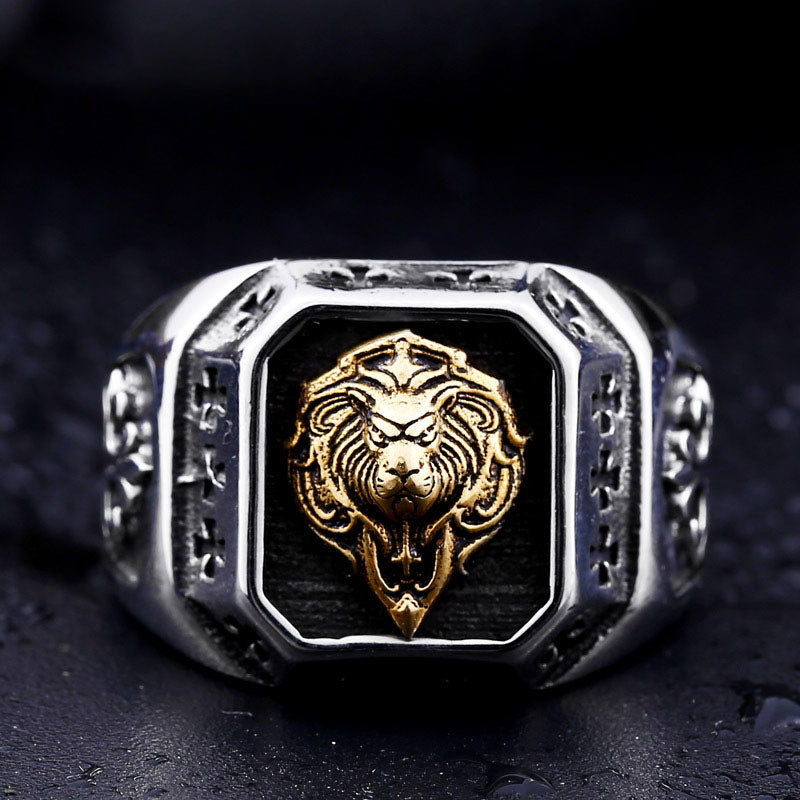 Men's domineering personality ring golden lion head ring