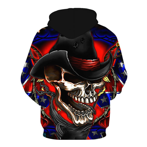 Skull print hooded pocket men's hoodie