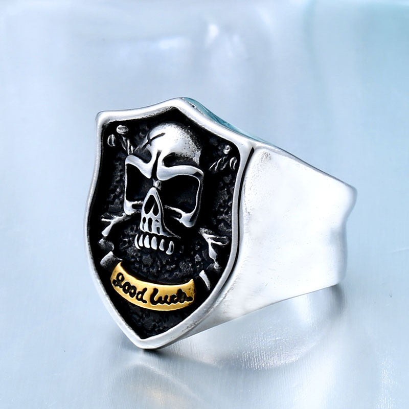 Punk Men's GOOD LUCK Lucky Skull Ring