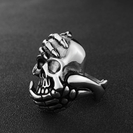 Skull ghost hand ring Cast ghost head retro ring