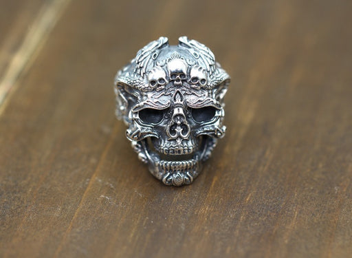 Men's s925 Sterling Silver Punk Motorcycle Clan Carved Skull Sterling Silver Ring