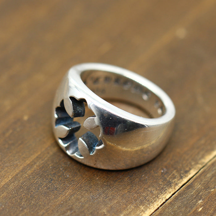 Vintage Punk Style Sterling Silver 925 Simple and Generous Cross Army Flower Ring
