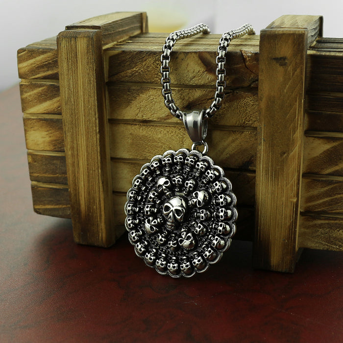 Men's Skull Ghost Head Pendant Punk Style Round Skull Necklace