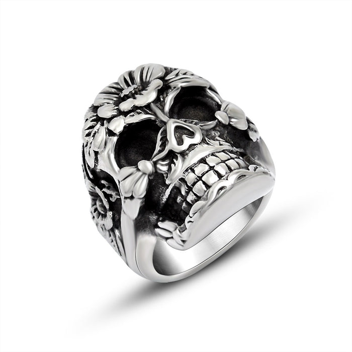 Trend flower skull stainless steel ring